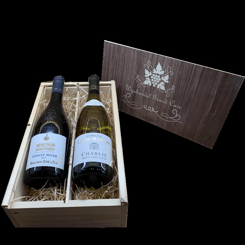 Wijnkist 2 vaks Pinot noir en Chablis 31.818182