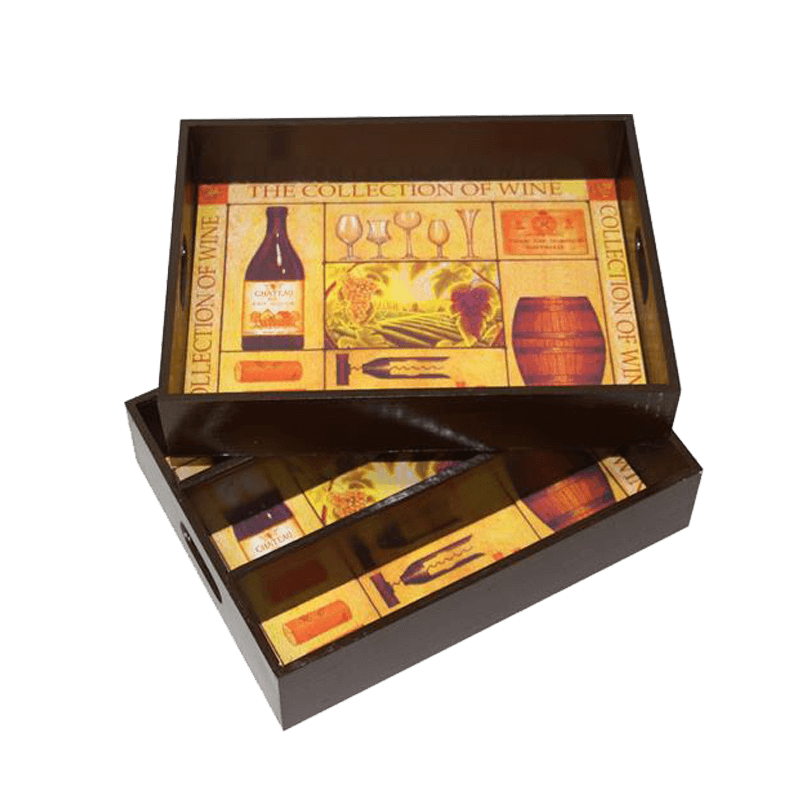 Wijnkist en dienblad voor 3 flessen wijn 12.809917