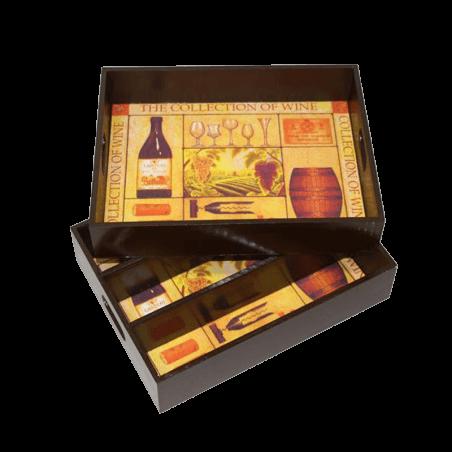 Wijnkist en dienblad voor 3 flessen wijn