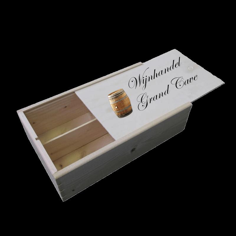 2 vaks luxe houten wijnkist met bedrukt schuifdeksel