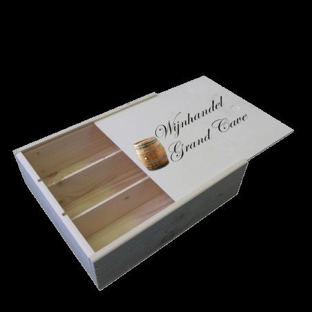 3 vaks luxe houten wijnkist met bedrukt schuifdeksel
