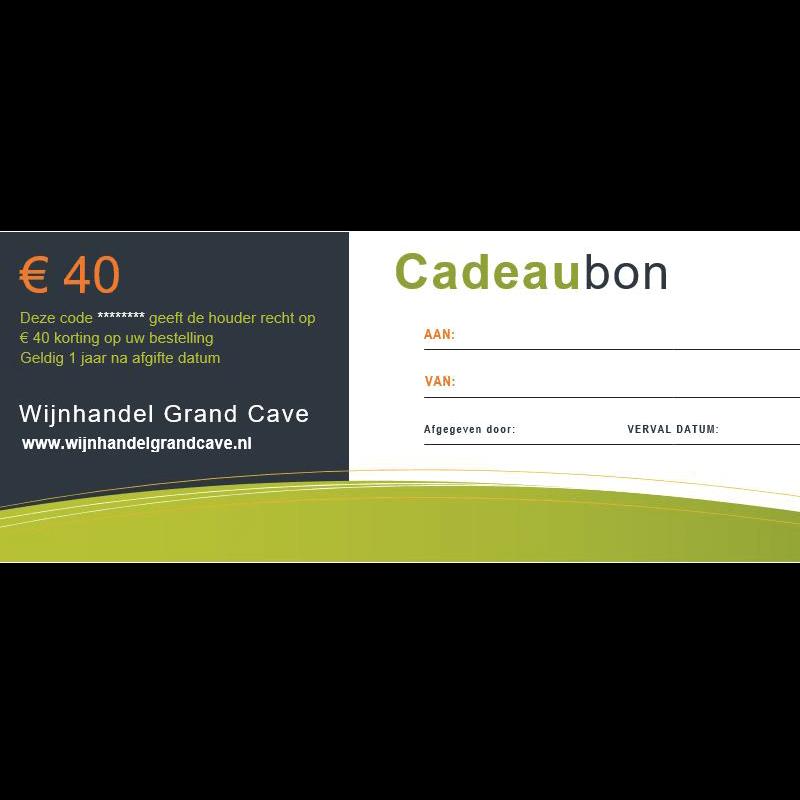 Wijn Cadeaubon 40 euro