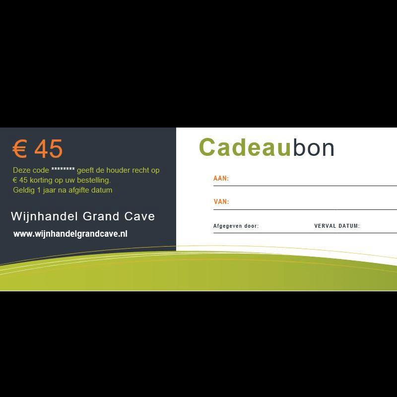 Wijn Cadeaubon 45 euro